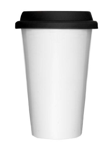 Sagaform 0000375 Mug à Emporter Blanc + Couvercle en Silicone