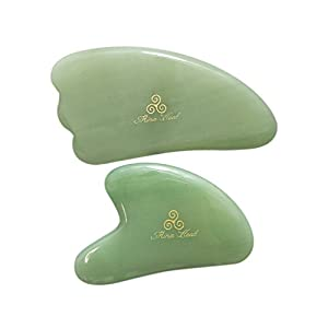 Facial Gua Sha Lymphatic Massage Jade Tool for Skin Detox and Rejuvenation, Anti-wrinkles, Anti-Aging Facelift, Cosmetic Self-Treatment & Beauty