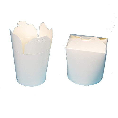 500 Nudelboxen Asiaboxen Snackboxen Foodboxen Pappe Hartpapier weiß unbedruckt 16oz ca. 500ml