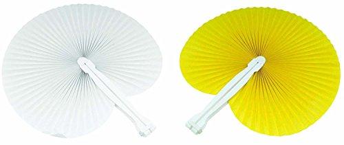 100 pezzi ventaglio 50 ventagli Gialli 50 ventagli Bianchi (24cm -26 cm) ideale come gadgets, bomboniera per matrimoni,comunioni,cresime eventi,feste