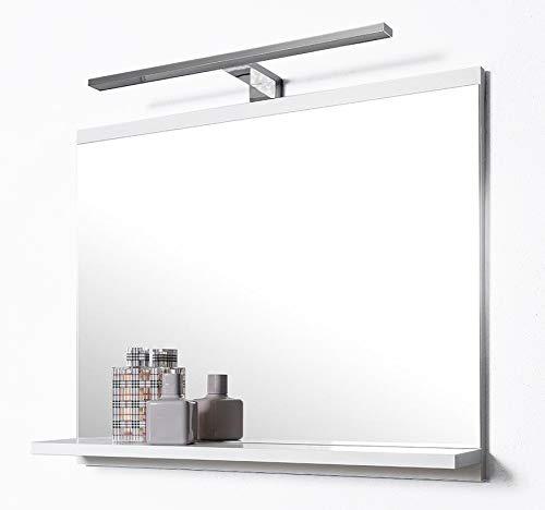 DOMTECH Espejo de baño estantes, Color Blanco, con iluminación LED, Espejo de Pared