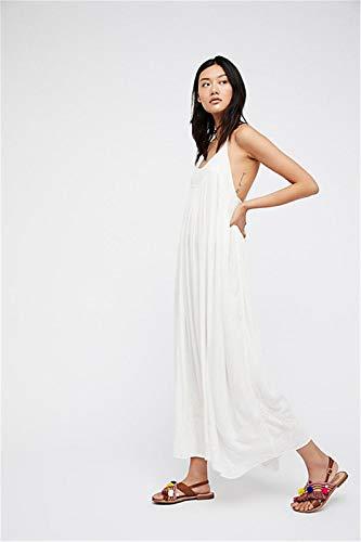 JDSXXZ Mode Sexy Kleid Sommer Bohemian Open Back Kleid Gurt Besticktes Langes Kleid, XL, Weiß - Open-back-pullover-kleid