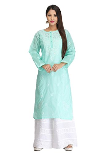 Lucknow Chikankari Handcrafted Women's Cotton Kurta Kurti Regular Wear by ADA A133580