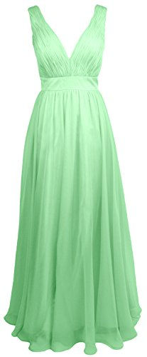 MACloth Women V Neck Chiffon Long Bridesmaid Dress Wedding Formal Party Gown Minze