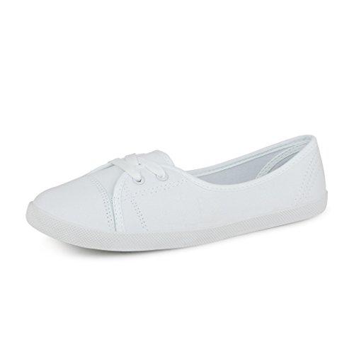 best-boots Damen Ballerinas Sneaker Schnürer Slipper Halbschuhe sportlich Weiß 1272 Größe 40