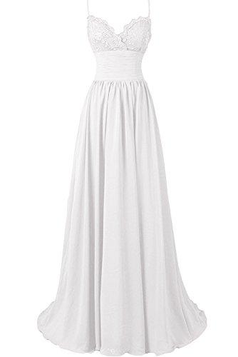 Sunvary Damen Spitze Neu Herzform Traeger Abendkleider Lang Ballkleider Chiffon Partykleider Weiß