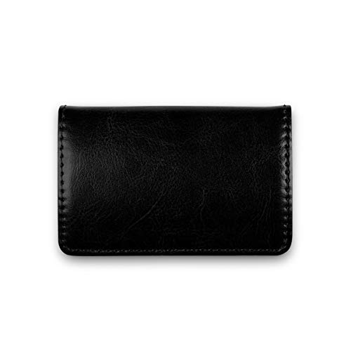 Visitenkarten-Etui Premium Business Kartenetui mit Magnetverschluss aus PU Leder für Damen und Herren (Vintage Schwarz) (Männer Visitenkarten-etui Für)