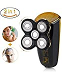 Wet Dry Men's Shaver Bald Head Shaver,2 in 1 Professional Cordless Electric Waterproof Rotary Shaver Bald Head Shaver for Man with 5 floating head,fast USB Recharge Trimmer for Travel Or HomeWet Dry Men's Shaver Bald Head Shaver,2 in 1 Professional Cordless Electric Waterproof Rotary Shaver Bald Head Shaver for Man with 5 floating head,fast USB Recharge Trimmer for Travel Or Home