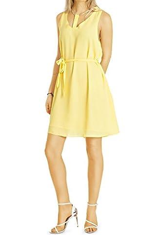 bestyledberlin - Robe - Trapèze - Uni - Sans Manche - Femme - jaune - Medium