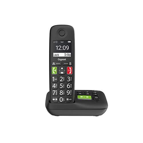 Gigaset E290A Schnurloses-/ DECT-/ Analog Telefon (mit Anrufbeantworter, mit großen Tasten und großem Display) schwarz