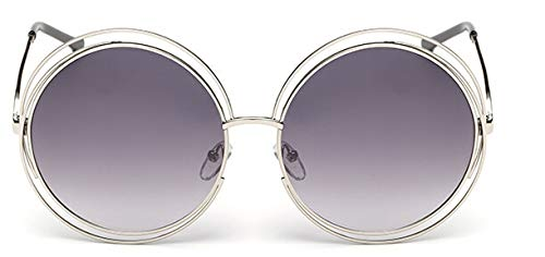 Macxy - Vintage Round Big Size Maxi-Objektiv Spiegel-Sonnenbrille Frauen Metallrahmen Lady Sun-Glas-Dame Cool Retro [Silver Grey]