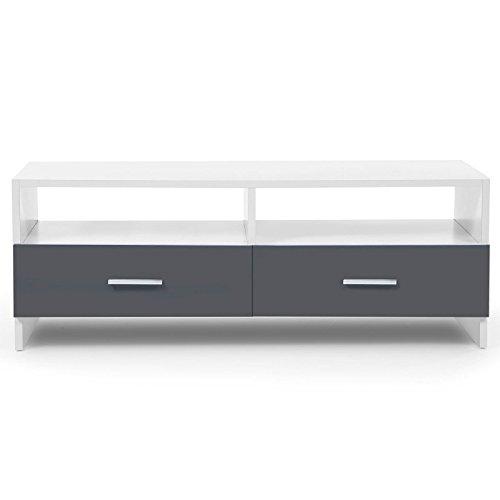 IDMarket - Meuble TV FALKO bois blanc et gris