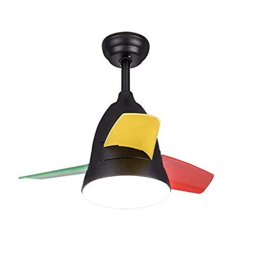 Deckenventilator Licht Ventilator Licht Kronleuchter LED Kinderzimmer kleine Deckenventilator Karikaturfarbe Blatventilator Kronleuchter moderne minimalistischer Lüfter (Farbe: Schwarz Größ -