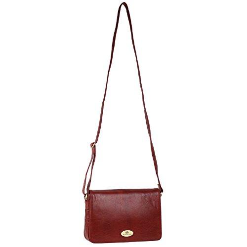 Damen Leder Cross-Body-Tasche Handtasche von Rowallan; RAZZANO Maroon Schulter