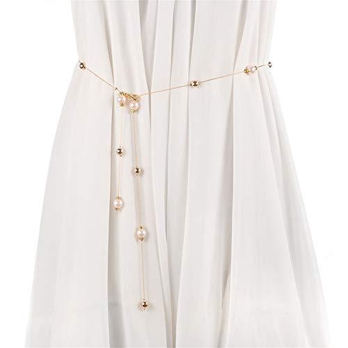 Matilda530 Frauen Pullover Perlen-Gurt-Kette Taille Ketten Körperketten Strand Gürtel Bauchkette (Farbe : Rosa)