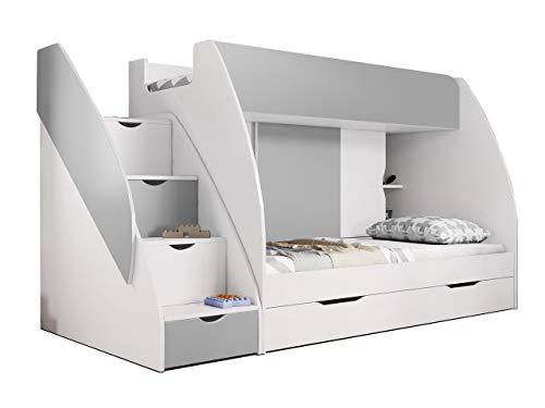 Idzczak Meble Hochbett Martin, Modern Kinderzimmer Etagenbett, Doppelstockbett mit Bettkasten, Schublade, Jugendzimmmer Bett (Weiß + Grau)