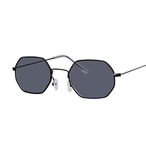 MOJINGYAN Sonnenbrillen,Vintage Schwarz Grau Sonnenbrille Frauen Klassische Metallrahmen Brillenmode Spiegel Hexagon Sonnenbrillen Für Frauen