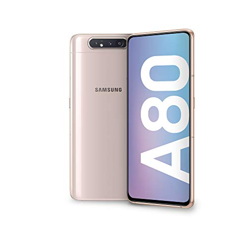 Samsung Galaxy A80 Smartphone, Display 6.7, 128 GB Espandibili, RAM 8 GB, Batteria 3700 mAh, 4G, Dual SIM, Android 9 Pie, (2019), Oro (Angel Gold) [Versione Italiana]