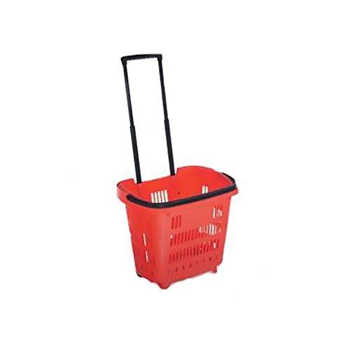 Cestino per la spesa trolley con due ruote rosso