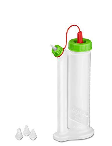 Pinava Leimspender - Original HighBot (ca. 180ml) von FastCap [NEU] Pinava Edition - Leimflasche leer - Sparbehälter für Holzleim, Klebstoffe - Quetschflasche - Kleberflasche inkl. 4 Spitzen