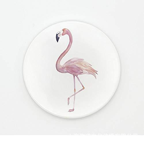 ZCHPDD Flamingo Flamingo Green Leaf Keramik Runde Isolierte Keramik Tasse Tablett 02 10,2 * 0,6 cm * 4 STK Green Oval Dutch Oven