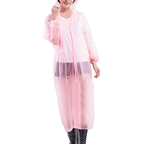 Zhhlaixing Multicolor Portable Adult Translucent Hooded Raincoat - One Size 057-060 Pink