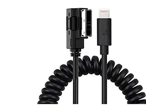 Shine Mercedes Benz MMI MDI AUX Kabel Lade-Musik-Interface, Spiralkabel kompatibel für iPXs XS Max XR X 8 7 7 Plus für Benz B C CLLS SLK E S SL SLS GL GLK ML Klasse (gedehnte Länge 2 m)