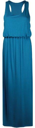 Femmes Uni Sans Manches Femmes Encolure Ronde Extensible Dos Nageur Toge Long Débardeur Jersey Grande Taille Robe Maxi Turquoise