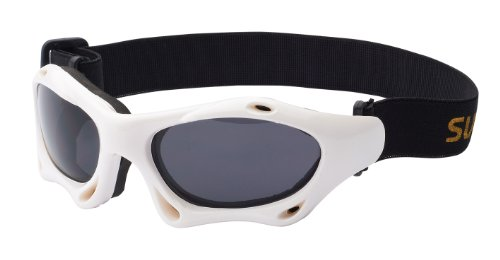 Sport Sonnenbrille mit Band skibrille kitebrille Sportbrille zum Wintersport, Kitesurfen oder Wassersport, weiß / schwarz Art. 7039-5