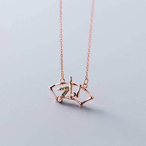 Good dress S925 Silberkette Weiblicher Schlaganfall Edel Elegant Temperament Bambus Bar Anhänger Kurze Schlüsselbein Halskette, Gold & Rose, Wie Gezeigt