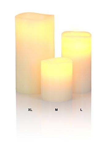Liown - Vela con luz LED (cera de verdad, funciona a pilas, tamaño M), color blanco