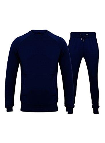 Fabrica Fashion Designer-Trainingsanzug, eng anliegendes Stretch-Oberteil und Hose mit Taschen und Reißverschluss Gr. S, navy