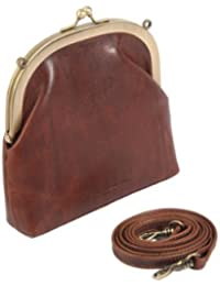 2597e62ece6b Dark brown purse style clutch bag or shoulder bag in antique style leather  by Smith