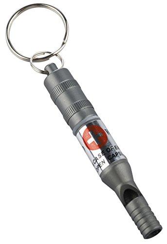 munkees Schlüsselanhänger Notfallpfeife mit sehr schrillem Ton aus Aluminium, wasserdichte Kapsel, Notfallinfos, Silber, 33851