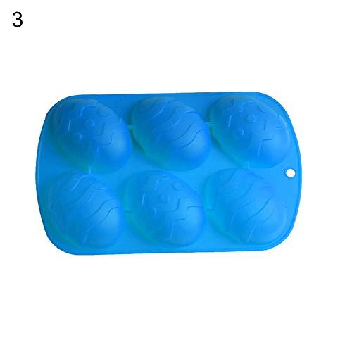Sytauuan 6 muffa di cottura del sapone della torta di cioccolato fatta a mano del silicone dell'uovo di pasqua della cavità blue