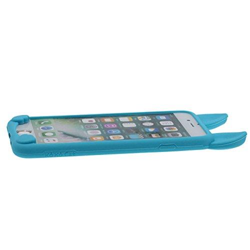 Pour iPhone 7 Plus 3D Charmant Chat Forme Mode Silicone Gel TPU Doux Slim Ultra Fine Coque Case Etui de Protection pour Apple iPhone 7 Plus 5.5 inch ( Vert ) avec 1 Silicone Titulaire bleu