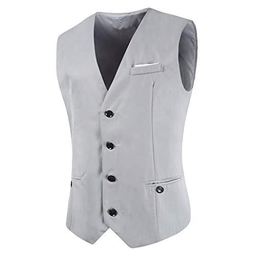 Herren Anzugweste Slim fit V-Ausschnitt Ärmellose mit 4 Knöpfen Männer Anzugweste Klassisch Business Gilet -