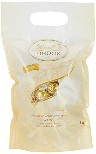 Lindt Lindor Beutel Weiß, gefüllt mit Lindor Kugeln aus weißer Lindt Chocolade mit einer  zartschmelzenden Füllung, 1er Pack (1 x 1kg) (Schokolade Weiße)
