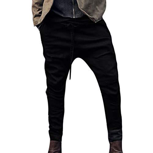 UJUNAOR Herren Stretch Freizeithose Jogger Basic Kordelzug Haremshose Jeans Hose...