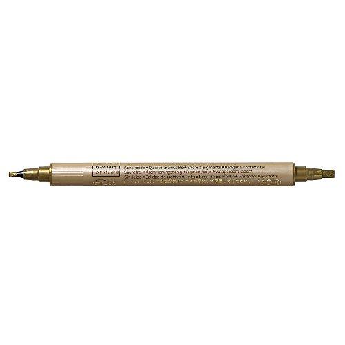 Rayher Hobby 7869306 Kalligraphie-Stift Metallic, gold, mit 2 Spitzen, Strichstärken 2 und 3, 5 mm