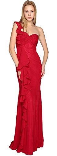 MACloth Elegant One Shoulder Long Bridesmaid Dress Simple Chiffon Prom Gown purple