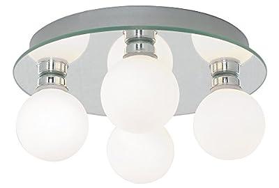 Modern 4 Lamp IP44 Low Energy Halogen Bathroom Ceiling Light by Haysom Interiors