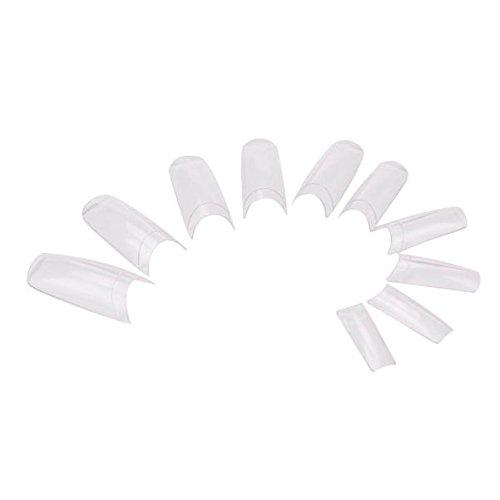 Sunenjoy Faux Ongles Conseils d'art des ongles Clair Acrylique français Fausses astuces pour Conception de beauté d'ongle d'extensions de clou de gel montrant 500PCS/ensemble