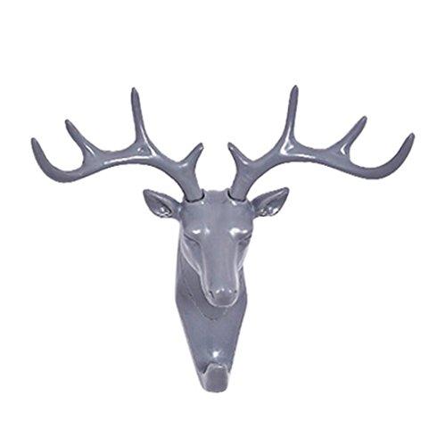 Ninasill Hot ! 10E6 x 10E6; Selbstklebende Wand- / Türhaken mit Hirschkopf, für Taschen, Schlüssel, grau, 11.5 * 1.5cm/4.53