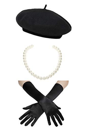 Coucoland Damen Fasching Kostüm Accessoires Set Französischer Stil A Night In Paris Party Inklusive Damen Französisch Barett Velvet Samt Handschuhe Kurze Perlen Halskette (Schwarz) (Paris Kostüm Party)