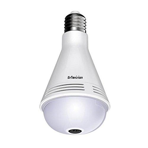 Evtevision-Cmara-de-bombilla-panormica-Evtevision-Camera-Bulb-VR-con-lente-Fisheye-de-360-grados-Cmara-IP-inalmbrica-WiFi-960P-incorporada-Altavoz-y-micrfono-Bluetooth-inteligentes-Alerta-por-correo-e