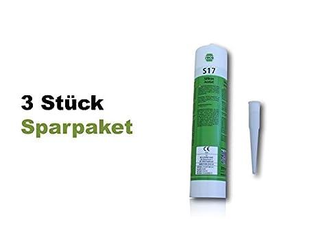 Lot de 3| RECA Norme silicone S17humides Noir | qualité premium |fensterverglasung Cartouche 310ml, silicone joints de salle de bains, douche, sanitaires, extérieur | hitzbeständig, étanchéité Joints élastique