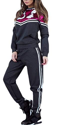 Grau Sweatsuit (Gocgt Damen 2-teiliges Trainingsanzug Sweatshirt Skinny Lange Hose Set Sweatsuit Gr. Small, Grau)