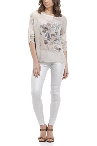 Laura Moretti - Blouse en soie Enjoy good trips Beige