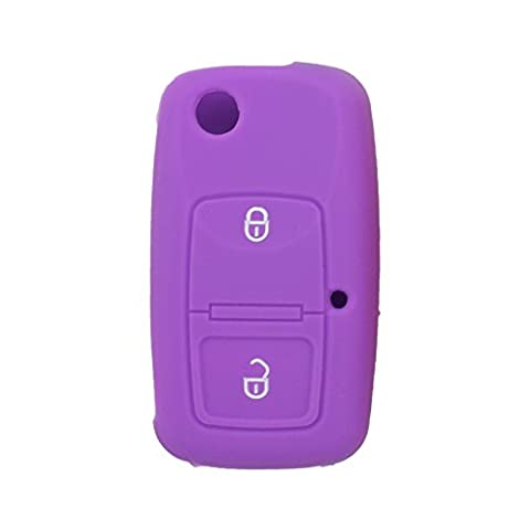 Fassport Silicone Cover Skin Jacket fit for VOLKSWAGEN 2 Button Flip Remote Key Hollow Texture CV9805 Purple